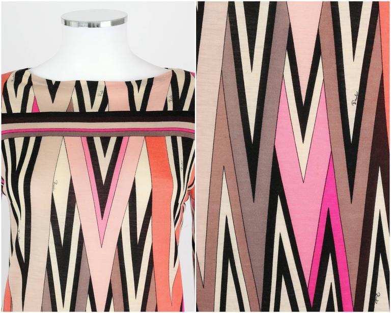 EMILIO PUCCI c.1960's Multicolor Zigzag Signature Print Drop Waist Shift Dress For Sale 1