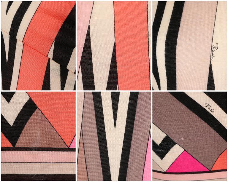 EMILIO PUCCI c.1960's Multicolor Zigzag Signature Print Drop Waist Shift Dress For Sale 5