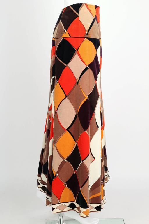 EMILIO PUCCI c.1960's Vogue Pattern Brown Signature Print Velvet Maxi Skirt 3