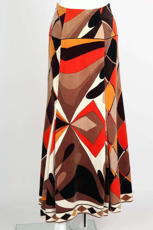 EMILIO PUCCI c.1960's Vogue Pattern Brown Signature Print Velvet Maxi Skirt 4