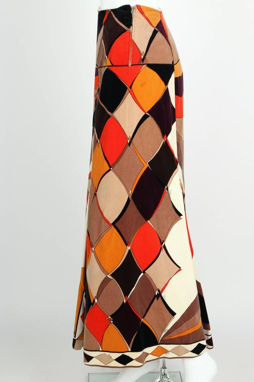EMILIO PUCCI c.1960's Vogue Pattern Brown Signature Print Velvet Maxi Skirt 5