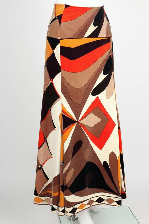 EMILIO PUCCI c.1960's Vogue Pattern Brown Signature Print Velvet Maxi Skirt 2