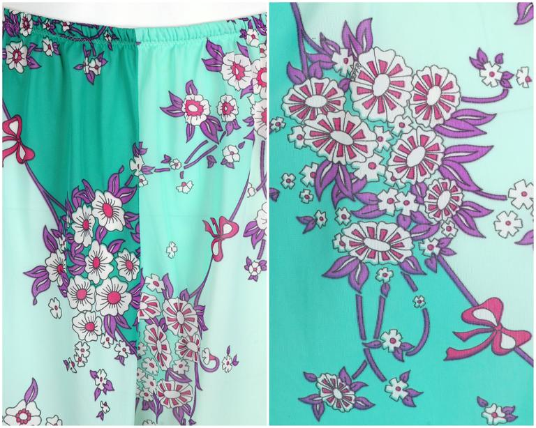 EMILIO PUCCI c.1960's Formfit Rodgers Mint Teal Floral Print Tap Pants Shorts For Sale 1
