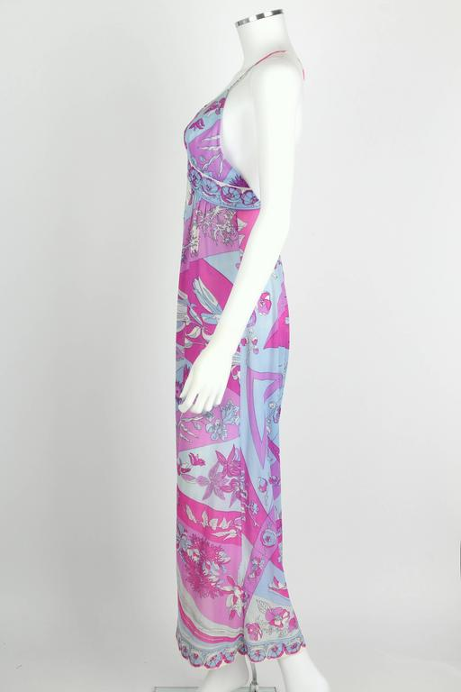 EMILIO PUCCI c.1970's Formfit Rogers Pale Blue Floral Print Long Slip Maxi Dress For Sale 1
