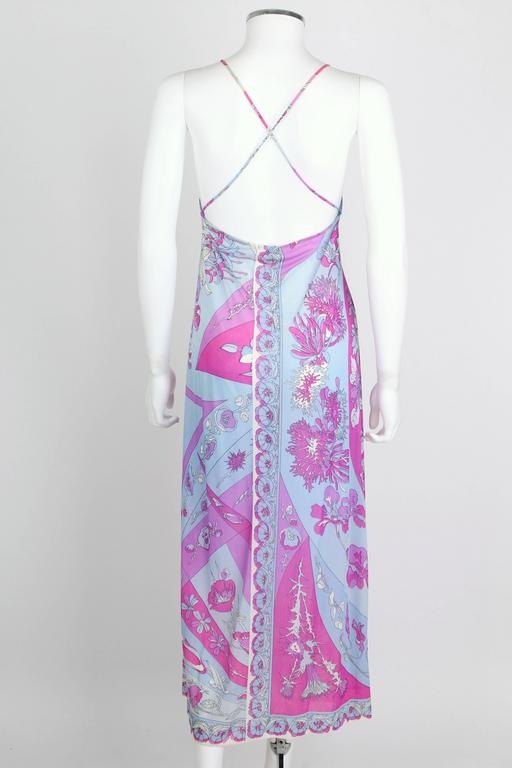 Women's EMILIO PUCCI c.1970's Formfit Rogers Pale Blue Floral Print Long Slip Maxi Dress For Sale