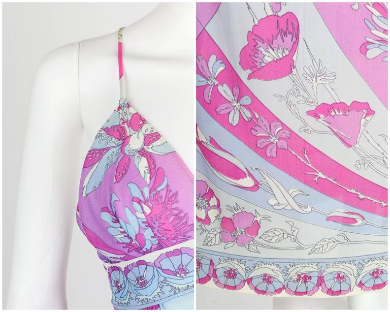 EMILIO PUCCI c.1970's Formfit Rogers Pale Blue Floral Print Long Slip Maxi Dress For Sale 3