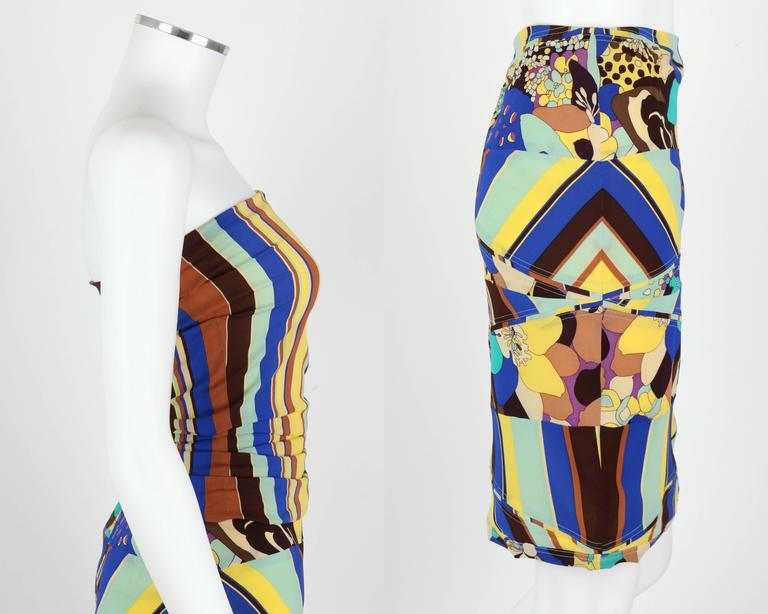 GIANNI VERSACE COUTURE c.1990's Striped Floral Strapless Top Skirt Dress Set In Excellent Condition For Sale In Thiensville, WI