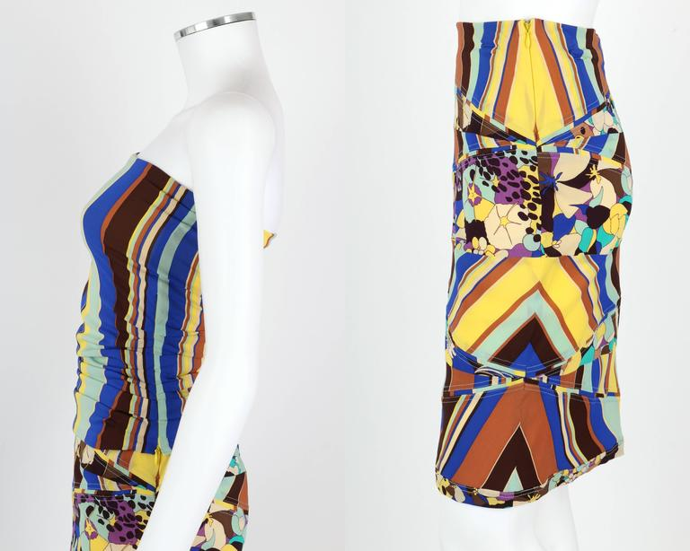 GIANNI VERSACE COUTURE c.1990's Striped Floral Strapless Top Skirt Dress Set For Sale 1