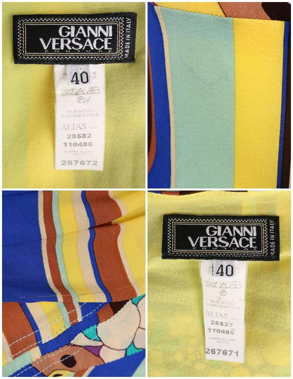 GIANNI VERSACE COUTURE c.1990's Striped Floral Strapless Top Skirt Dress Set For Sale 5