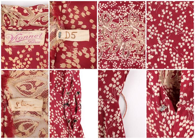 MADELEINE VIONNET c.1930's Numbered Burgundy Cream Dress Jacket Belt Set 6