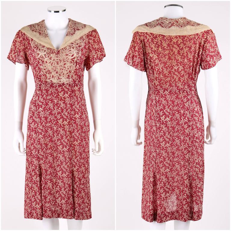 MADELEINE VIONNET c.1930's Numbered Burgundy Cream Dress Jacket Belt Set 2