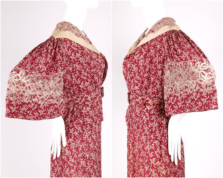 MADELEINE VIONNET c.1930's Numbered Burgundy Cream Dress Jacket Belt Set 5