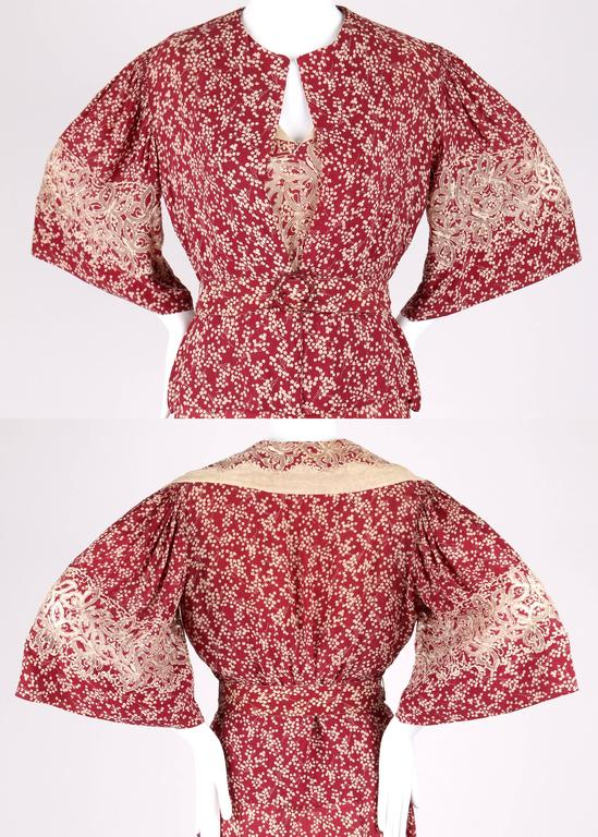 MADELEINE VIONNET c.1930's Numbered Burgundy Cream Dress Jacket Belt Set 4
