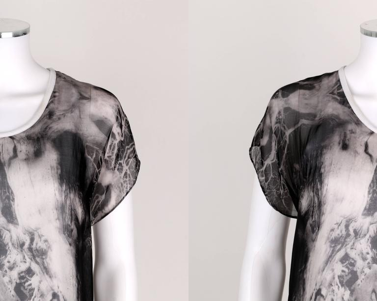 "ALEXANDER McQUEEN c.2010 ""Tree Print"" Black Chiffon Layered Short Sleeve Blouse 6"