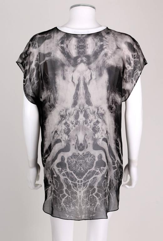 "ALEXANDER McQUEEN c.2010 ""Tree Print"" Black Chiffon Layered Short Sleeve Blouse 4"
