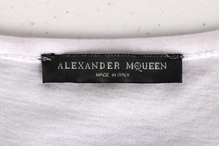 "ALEXANDER McQUEEN c.2010 ""Tree Print"" Black Chiffon Layered Short Sleeve Blouse 10"