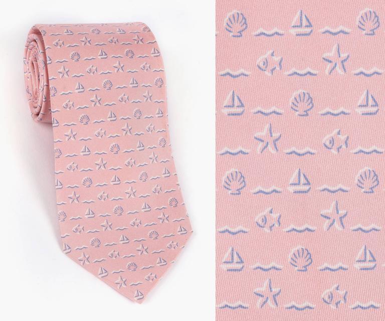 Well-liked HERMES Pink Sailboat Fish Nautical Seashell Print 5 Fold Silk  NJ71