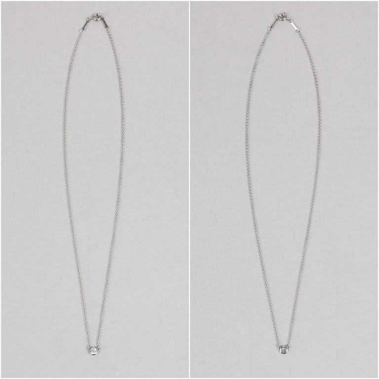 """TIFFANY & CO Elsa Peretti """"Diamonds By The Yard"""" Platinum Necklace Earring Set For Sale 2"""