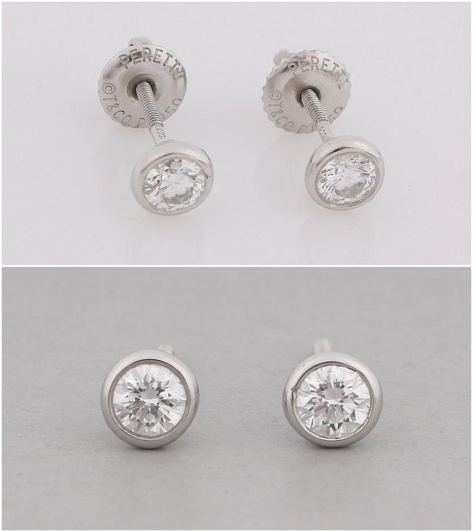"TIFFANY & CO Elsa Peretti ""Diamonds By The Yard"" Platinum Necklace Earring Set 4"