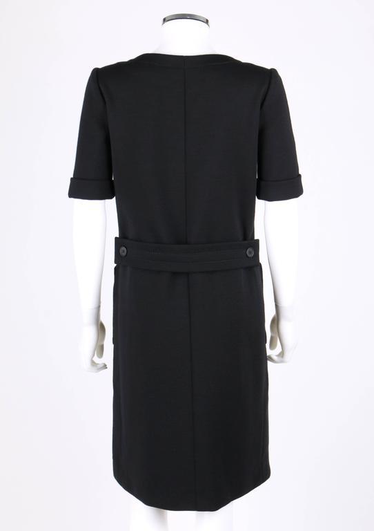 Women's JEAN PATOU c.1960's KARL LAGERFELD Black Short Sleeve Mod 100% Wool Shift Dress For Sale
