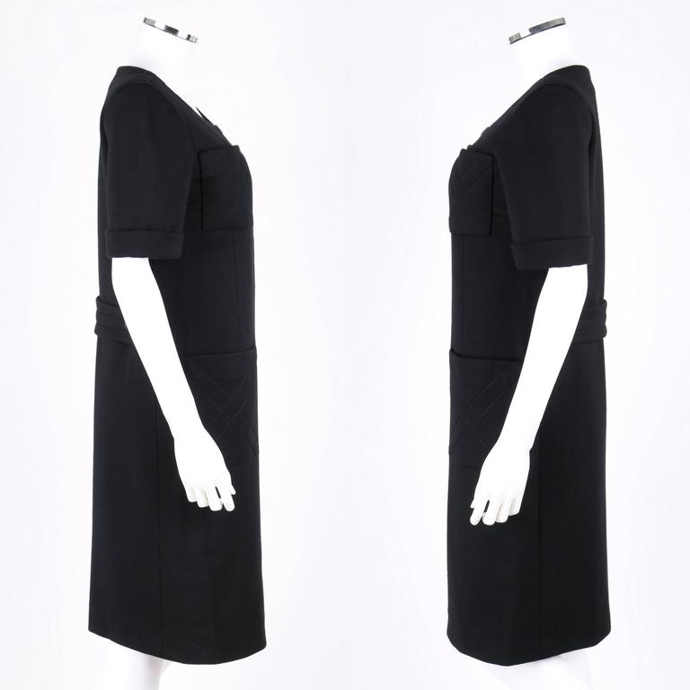 JEAN PATOU c.1960's KARL LAGERFELD Black Short Sleeve Mod 100% Wool Shift Dress In Excellent Condition For Sale In Thiensville, WI