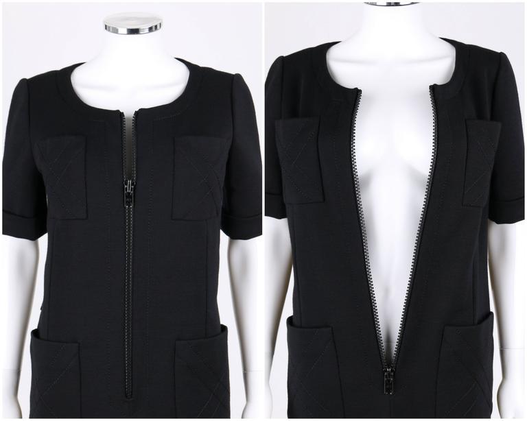 JEAN PATOU c.1960's KARL LAGERFELD Black Short Sleeve Mod 100% Wool Shift Dress For Sale 2