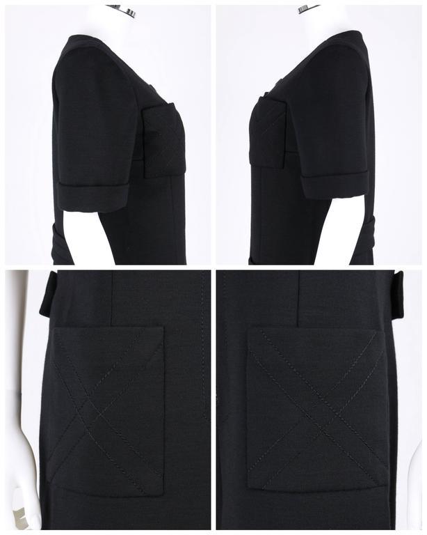 JEAN PATOU c.1960's KARL LAGERFELD Black Short Sleeve Mod 100% Wool Shift Dress For Sale 3