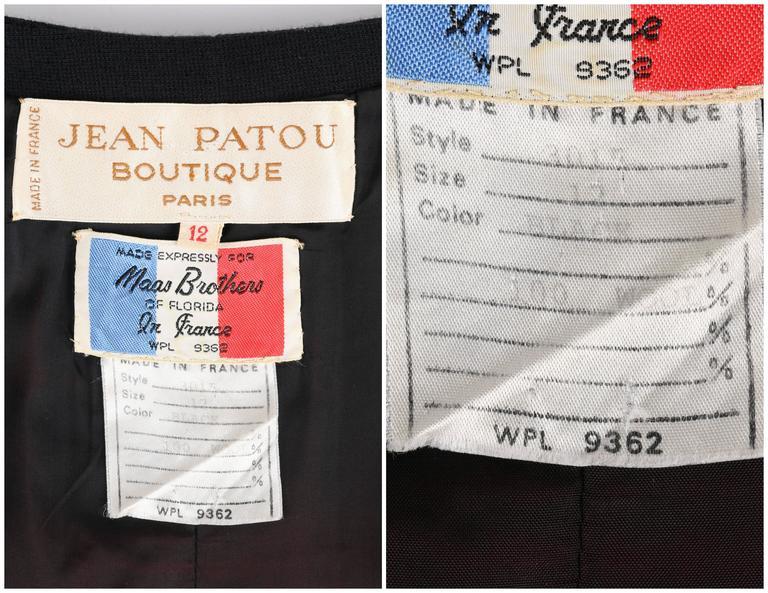 JEAN PATOU c.1960's KARL LAGERFELD Black Short Sleeve Mod 100% Wool Shift Dress For Sale 1