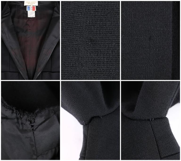 JEAN PATOU c.1960's KARL LAGERFELD Black Short Sleeve Mod 100% Wool Shift Dress For Sale 6