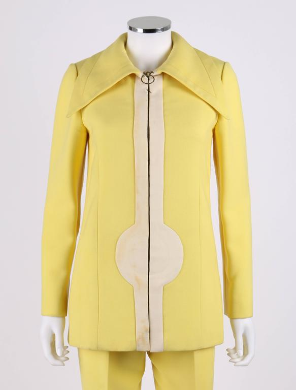 996b0f02f9adf Vintage c.1960 s Pierre Cardin two piece yellow and cream zip front jacket  and pants