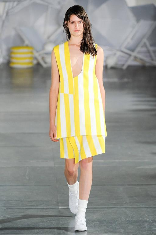 "JACQUEMUS S/S 2015 ""Les Parasols de Marseille"" Yellow Striped Asymmetrical Top 10"