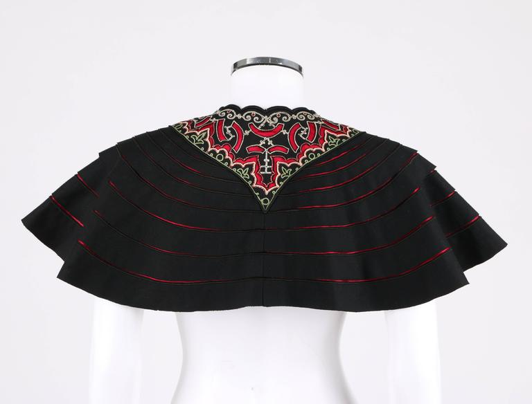 COUTURE c.1910's Edwardian Museum Piece Black Embroidered Cutwork Mantelet Cape 3