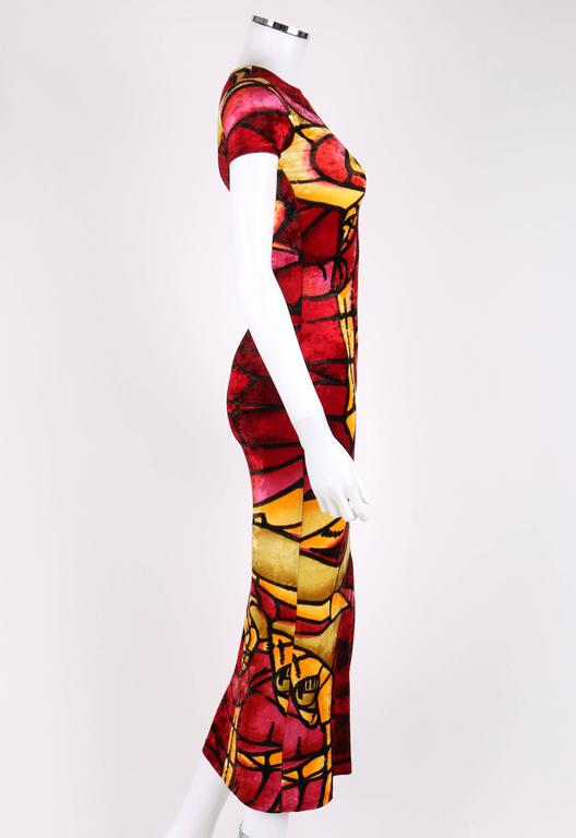 Red CHRISTIAN DIOR c.1990's JOHN GALLIANO Stained Glass Print Velvet Bodycon Dress For Sale
