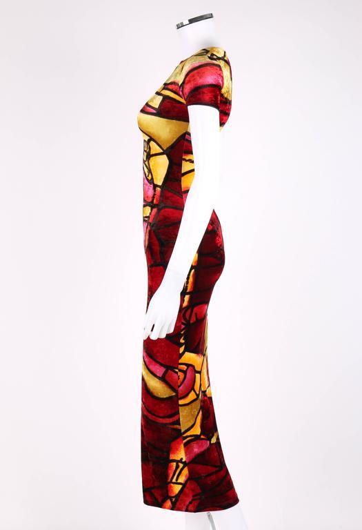 Women's CHRISTIAN DIOR c.1990's JOHN GALLIANO Stained Glass Print Velvet Bodycon Dress For Sale