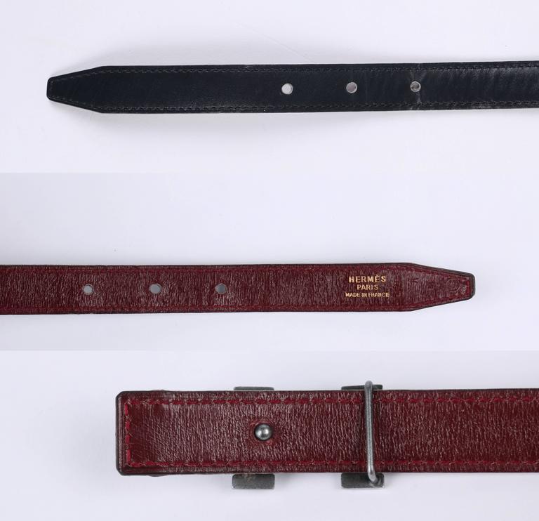 HERMES c.1987 Navy Blue Burgundy Leather Reversible Ruthenium H Buckle Belt 75 For Sale 1