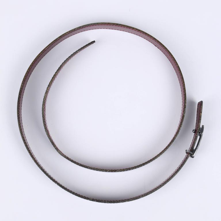 HERMES c.1987 Navy Blue Burgundy Leather Reversible Ruthenium H Buckle Belt 75 For Sale 2