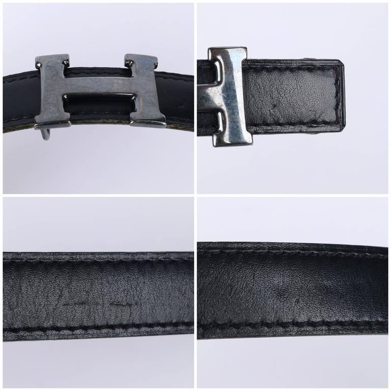 HERMES c.1987 Navy Blue Burgundy Leather Reversible Ruthenium H Buckle Belt 75 For Sale 5