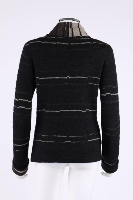Black CHANEL A/W 2009 Shawl Collar Button Front Knit Cardigan Sweater Size 40 For Sale