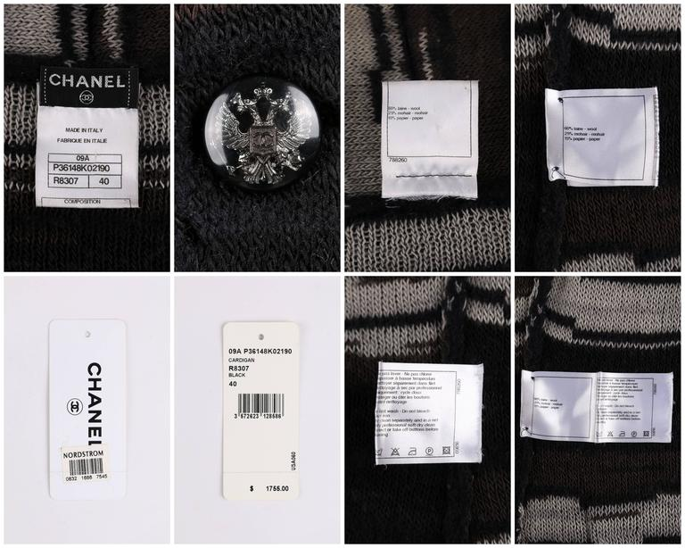 Women's CHANEL A/W 2009 Shawl Collar Button Front Knit Cardigan Sweater Size 40 For Sale