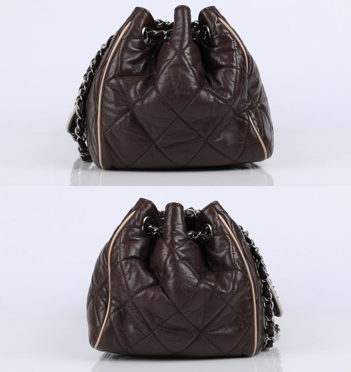 """CHANEL S/S 2008 """"East West"""" Brown Quilted Leather Accordion Flap Bag Purse In Excellent Condition For Sale In Thiensville, WI"""