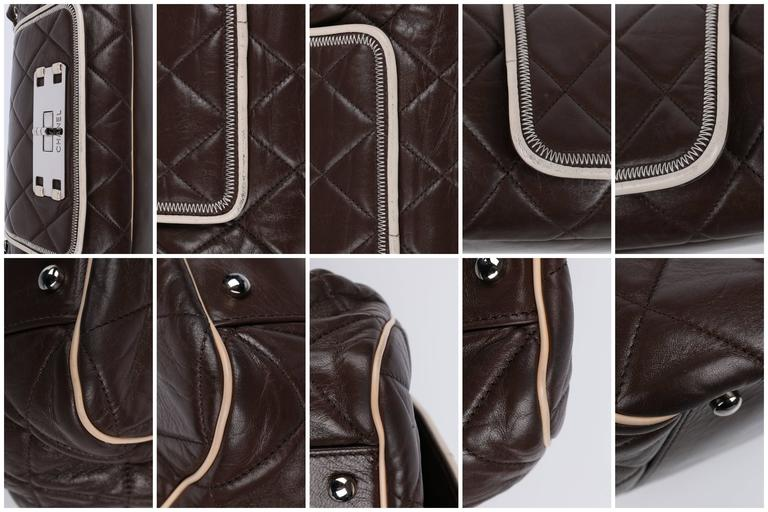 """CHANEL S/S 2008 """"East West"""" Brown Quilted Leather Accordion Flap Bag Purse For Sale 4"""