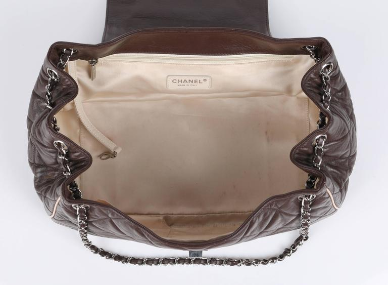 """Women's CHANEL S/S 2008 """"East West"""" Brown Quilted Leather Accordion Flap Bag Purse For Sale"""