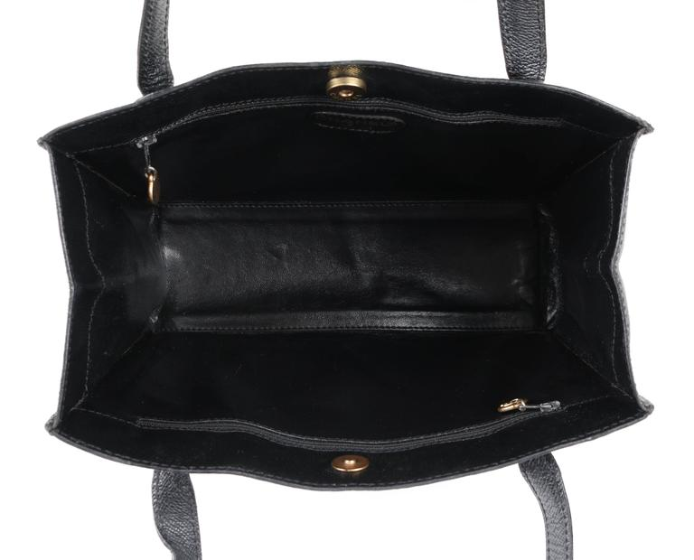 CHANEL c.1990's Black Caviar Leather Structured Shoulder Bag Tote Handbag Purse  5