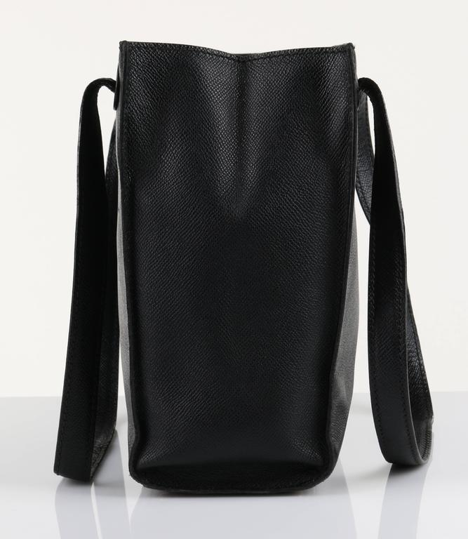 CHANEL c.1990's Black Caviar Leather Structured Shoulder Bag Tote Handbag Purse  4