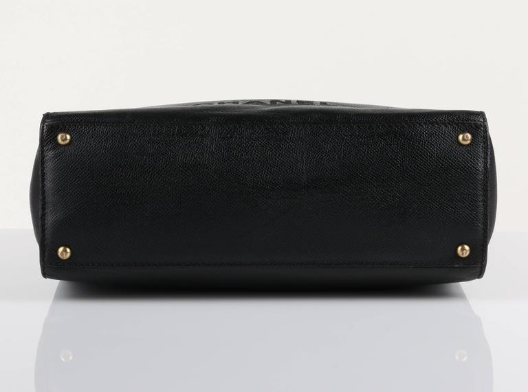 CHANEL c.1990's Black Caviar Leather Structured Shoulder Bag Tote Handbag Purse  7