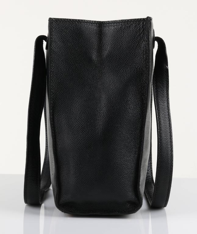 CHANEL c.1990's Black Caviar Leather Structured Shoulder Bag Tote Handbag Purse  3