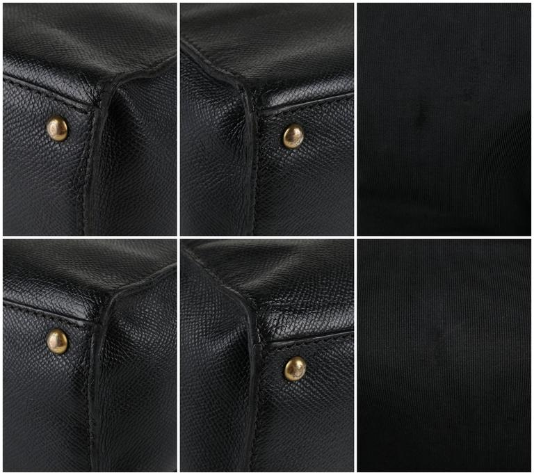 CHANEL c.1990's Black Caviar Leather Structured Shoulder Bag Tote Handbag Purse  8