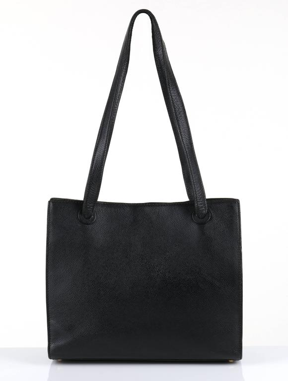 CHANEL c.1990's Black Caviar Leather Structured Shoulder Bag Tote Handbag Purse  2
