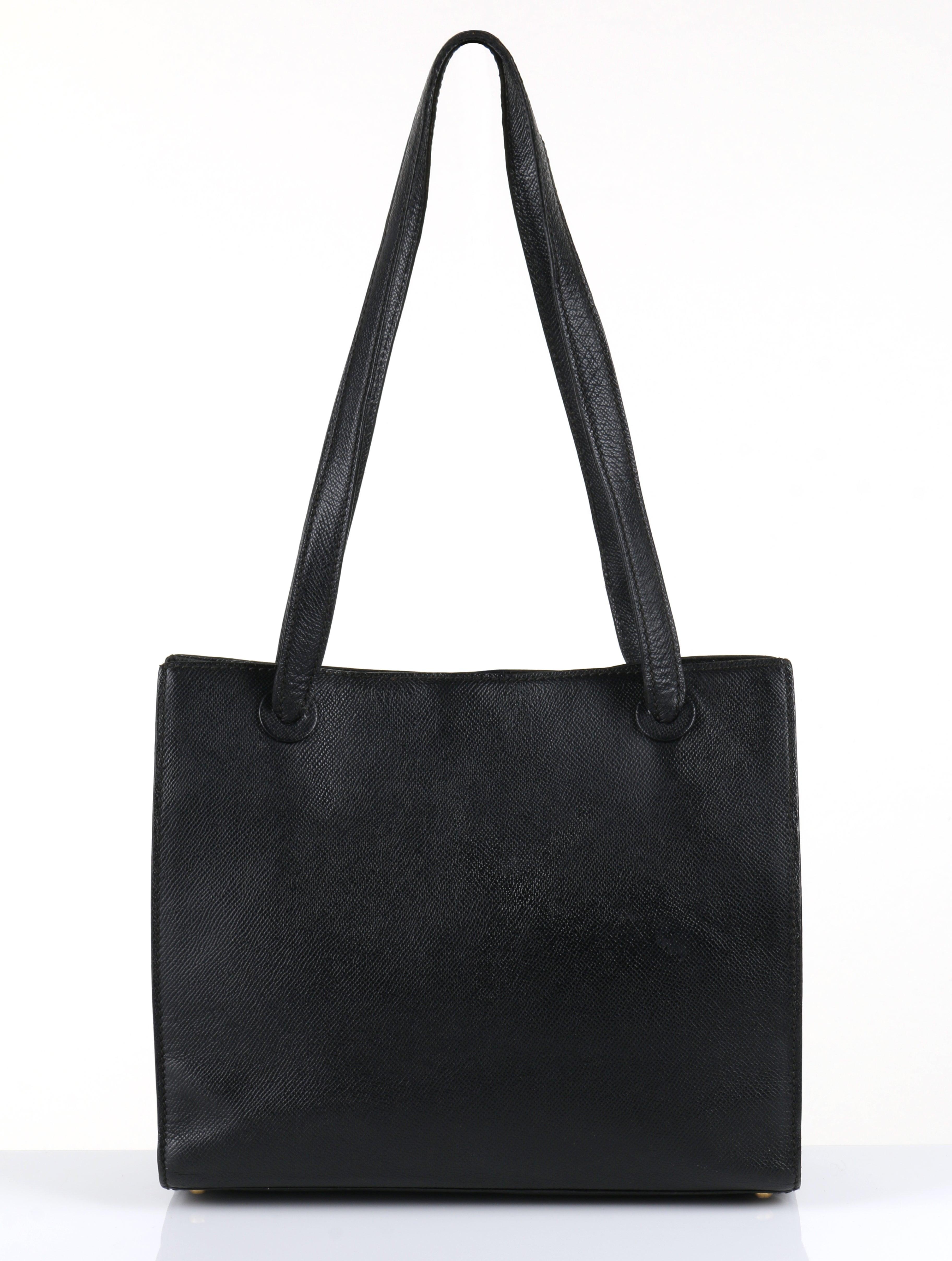CHANEL c.1990 s Black Caviar Leather Structured Shoulder Bag Tote Handbag  Purse at 1stdibs 607ab816d7215
