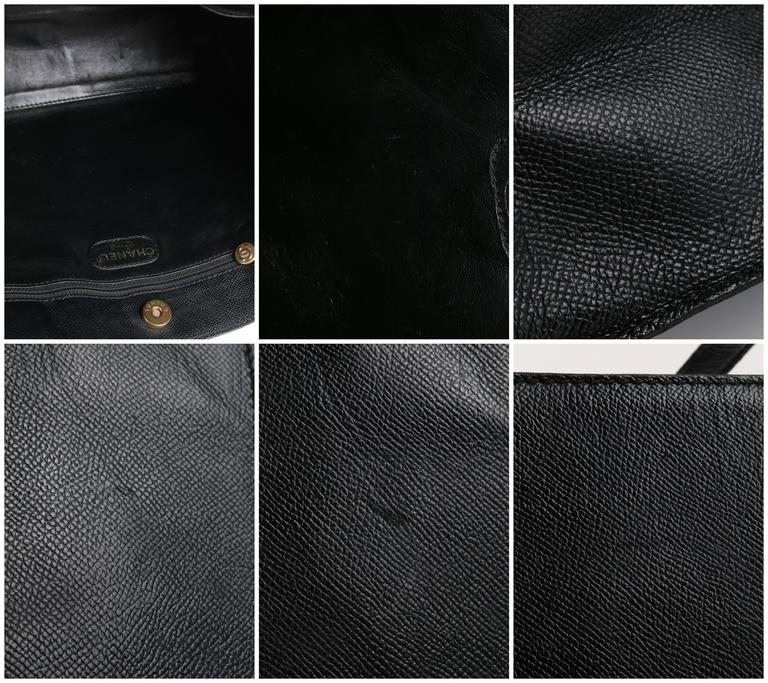 CHANEL c.1990's Black Caviar Leather Structured Shoulder Bag Tote Handbag Purse  9